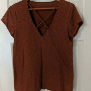 Short sleeve top with strappy front